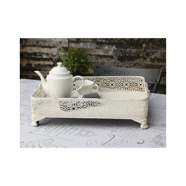 Bakke med fil de fer kant i antique hvid fra Chic Antique