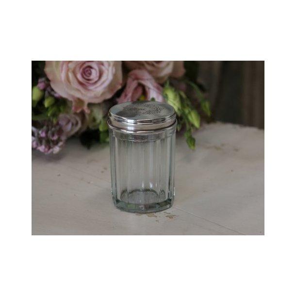 Glasbeholder med rillet glas og monogram