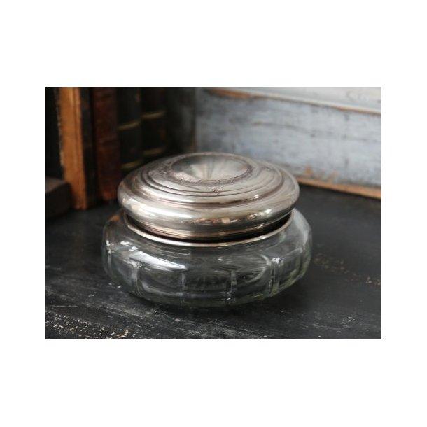 Box i glas med antiksølv låg, rund