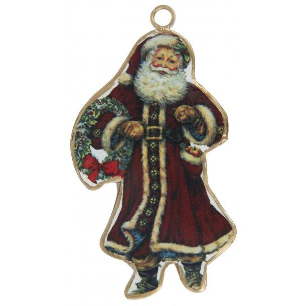 Julemand metal t/ ophæng m/ krans i hånden
