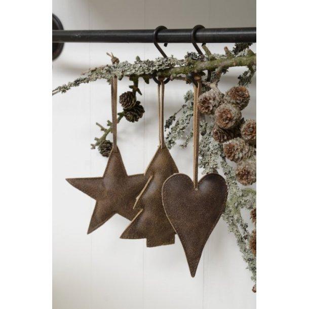 Juletræspynt, hjerte, stjerne og juletræ i mørkebrun koskind, store