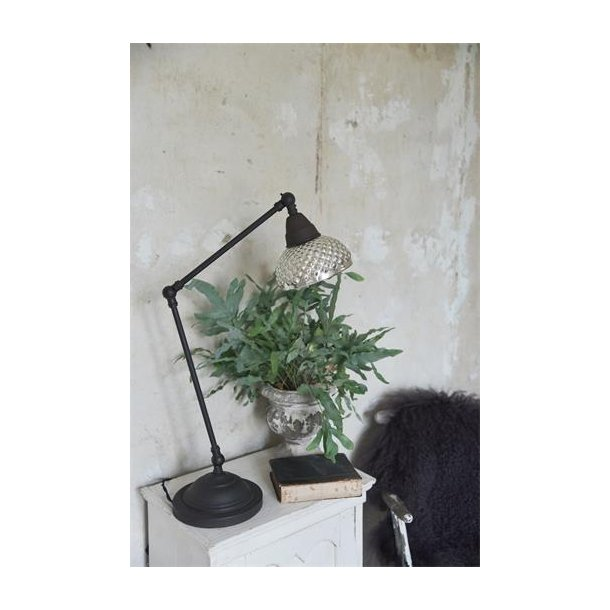 Bordlampe regulerbar i metal og fattigmandssølv
