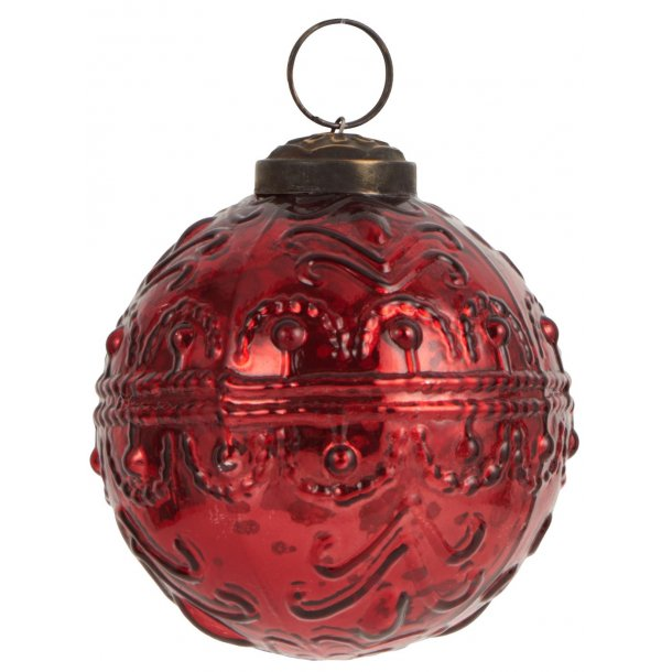 Julekugler svungen mønster rød