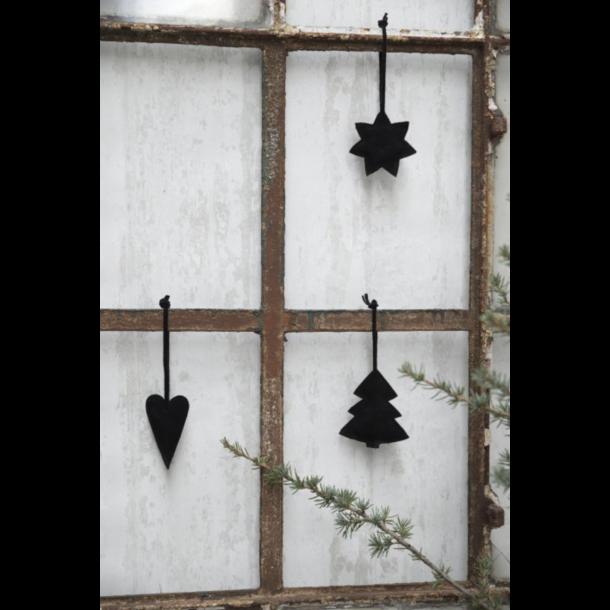 Juletræspynt, hjerte, stjerne og juletræ i sort koskind