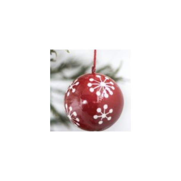 Julekugle mellem - Ib Laursen m/ snekrystal Rød